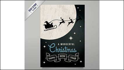 Moonlight Sleigh Christmas greeting card vector material