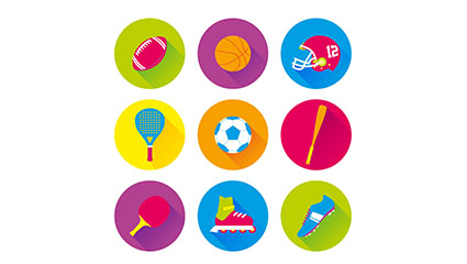9 color sports icon vector material