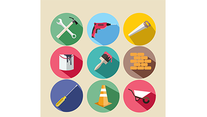 9 construction tools icon vector material