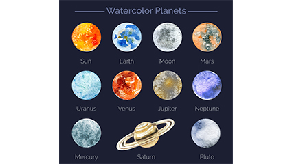 11 models painted water planet vector material