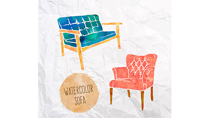 Two paragraph water stained sofa design vector material